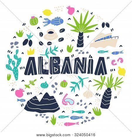 Albania Round Composition Flat Hand Drawn Vector Illustration. Albania Flora, Fauna Cartoon Cliparts