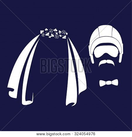 Bride And Groom. Wedding Veil, Helmet, Glasses, Mustache Funny Characters. Vector Icons In A Flat St