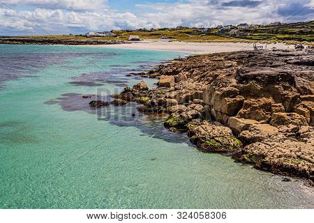 Stunning View Of The Coast, The Beach And The Sea With Crystal Clear Water On The Island Of Inis Oir