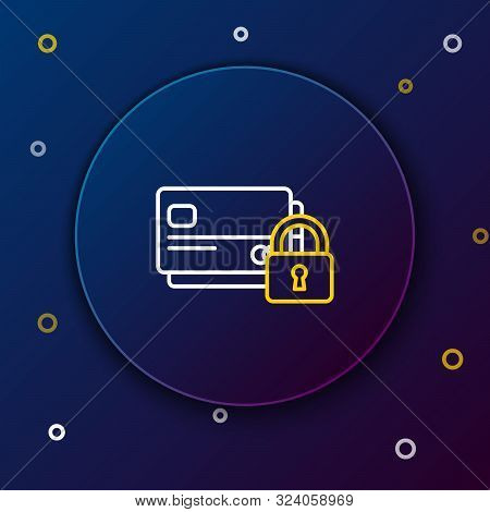 White and yellow line Credit card with lock icon on blue background. Locked bank card. Security, safety, protection concept. Concept of a safe payment. Colorful outline concept. Vector Illustration poster