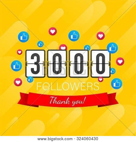 3000 Followers, Thank You, Social Sites Post. Thank You Followers Congratulation Card. Vector Stock