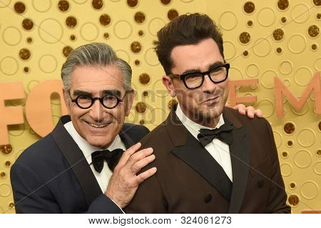 LOS ANGELES - SEP 22:  Eugene Levy, Daniel Levy at the Primetime Emmy Awards - Arrivals at the Microsoft Theater on September 22, 2019 in Los Angeles, CA