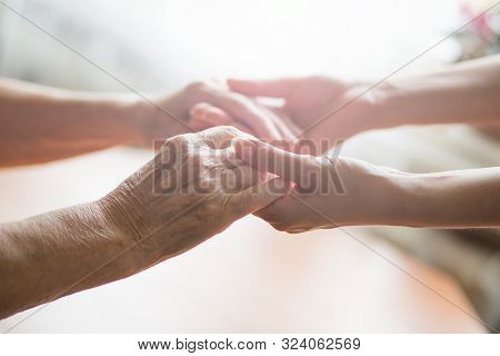 People Holding On To Each Other. Young And Old. The Concept Of Love Of A Young And Old Generation Of