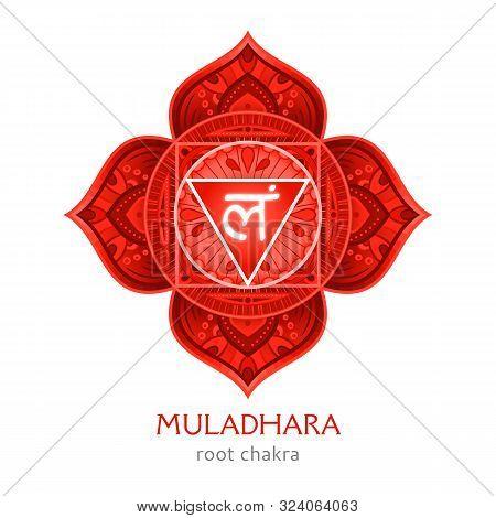 Muladhara, Root Chakra Symbol. Colorful Mandala. Vector Illustration