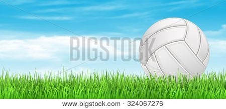 Volleyball Ball On Green Grass Field. Volleyball Banner Concept Background. Vector Stock
