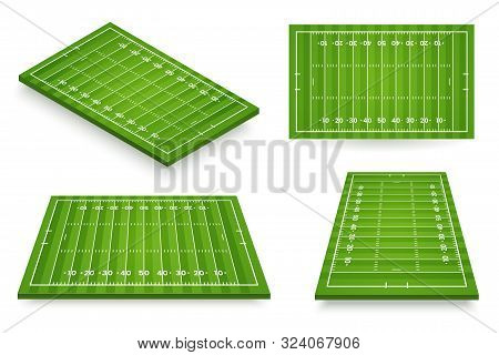 American Football Field Vector Illustration. Football Pitch Set In Various Angle Views. Stadium Icon