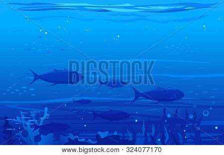 Ocean Underwater Background With Flock Of Tuna Fish, Underwater Sea With Many Different Silhouettes