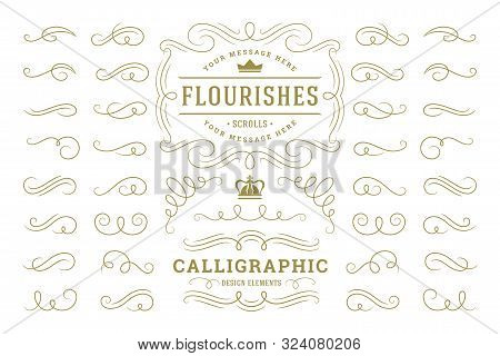 Calligraphic Design Elements Vintage Ornaments Swirls And Scrolls Ornate Decorations Vector Design E