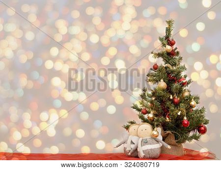 Christmas Greeting Card Vintage. New Year , Christmas Mock Up. Close-up Decorated Christmas Tree Dec