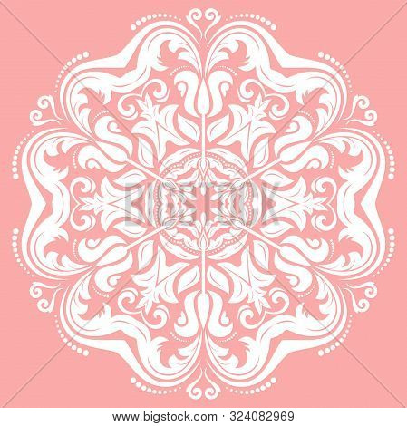 Oriental Vector Pink And White Round Pattern With Arabesques And Floral Elements. Traditional Classi