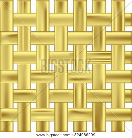 Vector Interlacing Of Golden Stretched Ribbons Pattern Isolated On White Background. Texture Of Gold