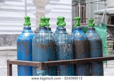Oxygen Tank With Valve Of Welding Equipment Acetylene Gas Cylinder For Steel Industrial And Metal Wo