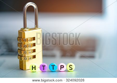 Word Https On Computer. Network Security And Data Protection Cyber Security Concept.