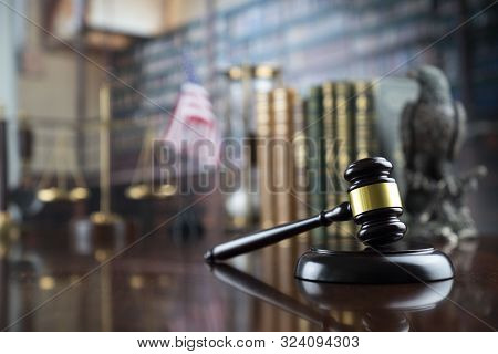Judge Concept. Gavel In The Court Library.