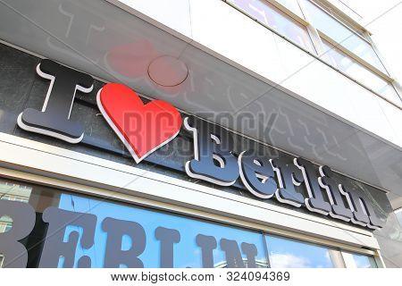 Berlin Germany - June 7, 2019: I Love Berlin Gift Shop Berlin Germany