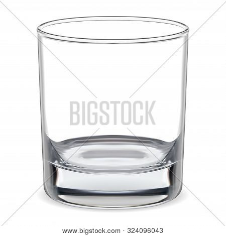 Empty Glass. Transparent Whiskey Glass. Clear Glassware For Water, Brandy, Bourbon, Rum Bar Alcohol.