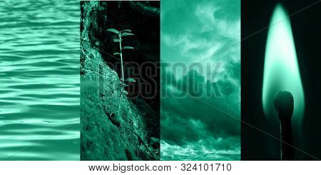 Collage Of Four Photos In Tones Of Biscay Green. The Image Is Characterized By Four Elements - Water