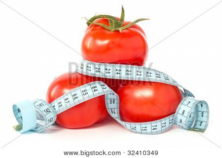 tomatoes wrapped with measuring tape to signify weight loss poster
