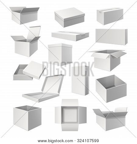 Set Of White Boxes For Cargo Delivery. Realistic Or 3d Pack For Pizza. Container For Food Or Gift. E
