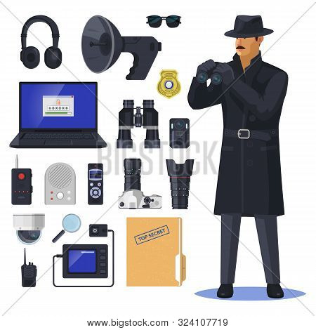 Detective Items Near Spy Or Investigation Officer. Secret Agent Near Notebook And Glasses, Magnifier