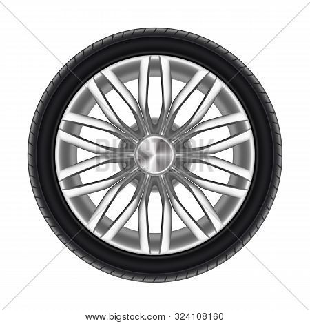Auto Tyre Or Rubber Wheel Isolated On White. Race Or Sport Tire For Automobile Vehicle. Steel Or Met