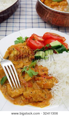 A Kerala or South Indian chicken curry, which includes tomatoes and coconut milk garnished with coreander and curry leaves and served with salad and rice, serving bowls in the background poster
