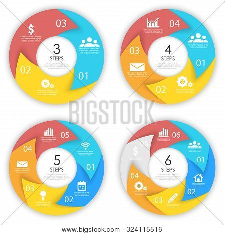 Set Template For Circle Diagram, Options, Web Design, Graph And Round Infographic. Business Concept