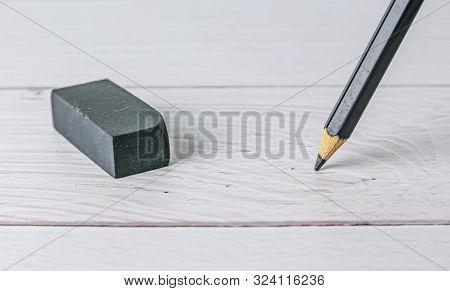 Eraser And Error Concept, Eraser And Pencil On White Table, Mistake Erase Concept