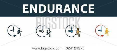 Endurance Icon Set. Premium Symbol In Different Styles From Fitness Icons Collection. Creative Endur