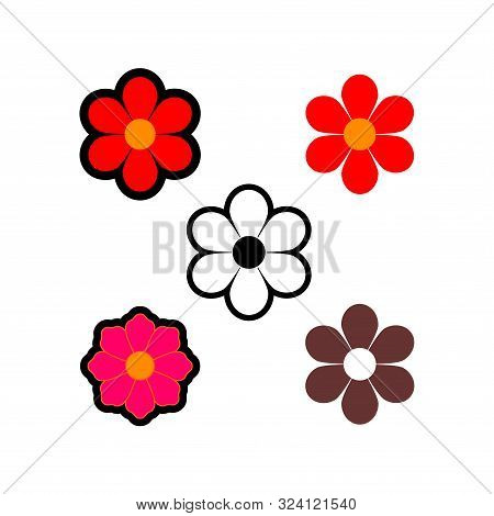Set Of Flower Icon Vector Flat On White Background. Flower Icon Image, Flower Icon Trendy And Modern