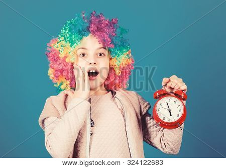 Kid Colorful Curly Wig Clown Style Hold Alarm Clock. I Am Not Joking About Discipline. False Alarm.