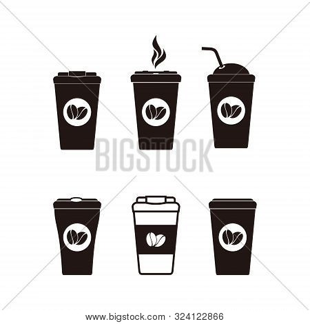 Set Coffee Cup Icon Isolated On White Background. Coffee Cup Icon In Trendy Design Style. Coffee Ico
