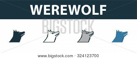 Werewolf Icon Set. Premium Symbol In Different Styles From Halloween Icons Collection. Creative Were