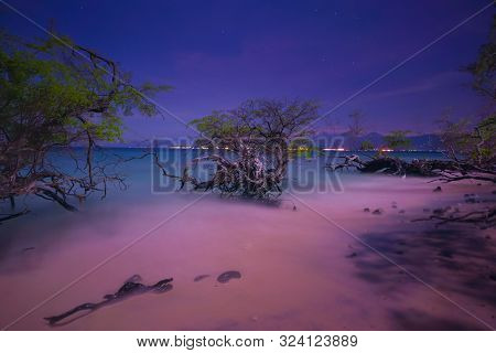 Tropical Island Seashore, Gili Meno At Night, Lombok Island In The Background