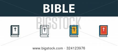 Bible Icon Set. Premium Symbol In Different Styles From Halloween Icons Collection. Creative Bible I