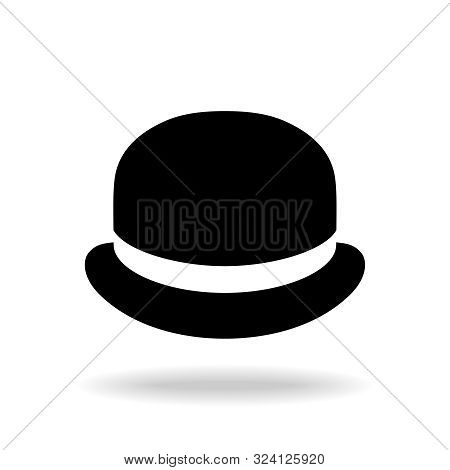 Bowler Hat Graphic Icon. Black Hat Sign Isolated On White Background. Vector Illustration