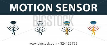 Motion Sensor Icon Set. Premium Symbol In Different Styles From Sensors Icons Collection. Creative M