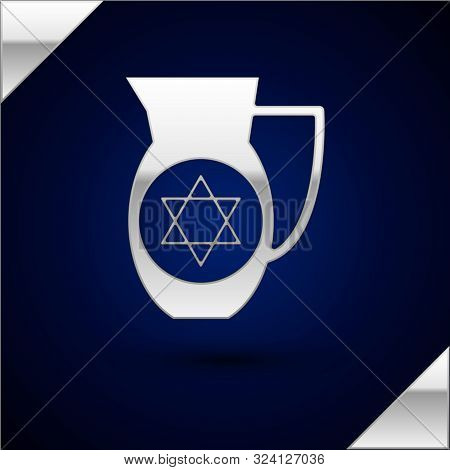 Silver Decanter With Star Of David Icon Isolated On Dark Blue Background. Pottery Jug. Organic Produ