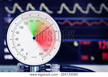 Blood Pressure Dial With Arrow In The Red Danger Zone, Medical Concept Of High Blood Pressure.