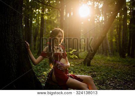 Female Spirit Mythology. Living Wild Life Untouched Nature. Sexy Girl. Wild Human. Wilderness Of Vir
