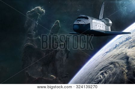 Space Shuttle, Planet On Background Of The Pillars Of Creation. Beauty Of Deep Space. Science Fictio