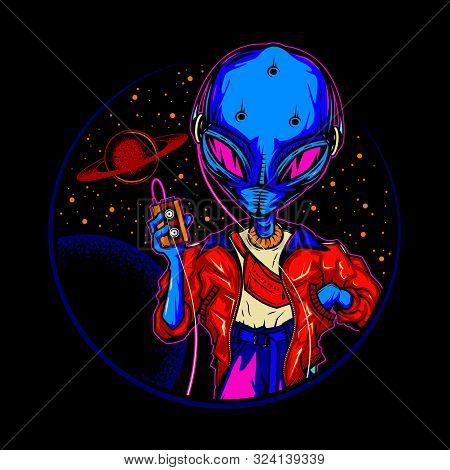 Original Vector Illustration In Vintage Neon Style. An Alien, An Alien In Headphones, With A Cassett