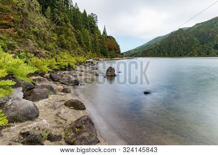 View From The Waterside Of Lagoa Do Fogo, A Crater Lake On The Island Of São Miguel In The Azores Ar