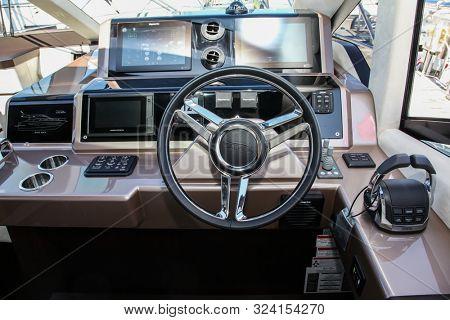NORWALK, CT, USA - SEPTEMBER 19, 2019: New 2020 Galeon 560 SKY  shoving on Progressive Norwalk Boat Show Day 1 From September 19-22, 2019.