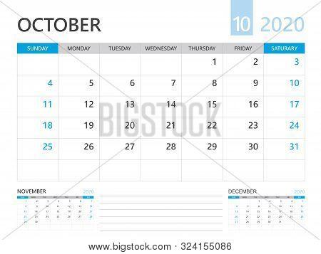 Calendar 2020 Template, October 2020 Year, Desk Calendar 2020 Layout, Corporate Design Planner Templ