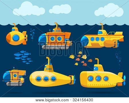 Bathyscaphe Cartoon, Yellow Submarine Sea Research Transport. Vector