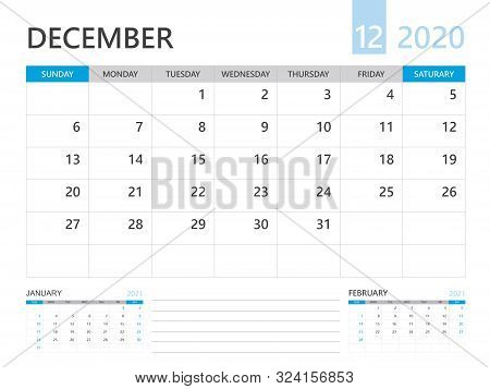 Calendar 2020 Template, December 2020 Year, Desk Calendar 2020 Layout, Corporate Design Planner Temp