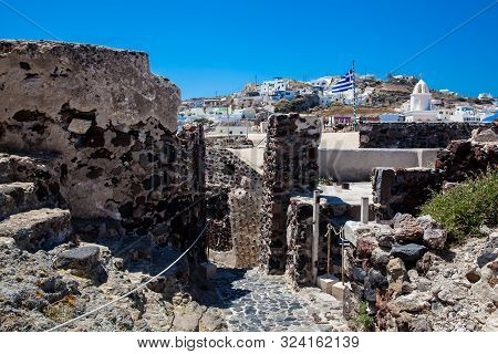 Ruins Of The Castle Of Akrotiri Also Known As Goulas Or La Ponta, A Former Venetian Castle On The Is