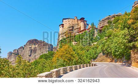 Road to The Monastery of Rousanou (St. Barbara) on the rock in Meteora, Kalabaka, Greece