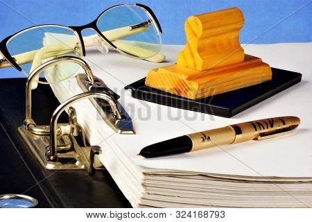 Folder With Files-registrar Of Archival Records, Glasses, Pen, Print.folder Stationery-belonging Bus